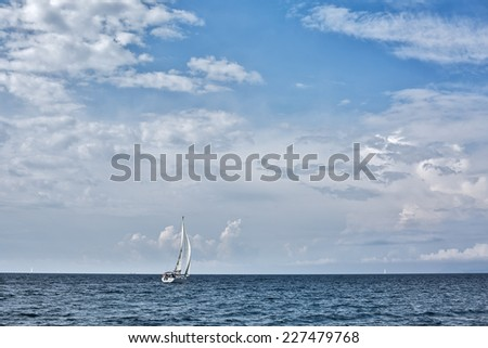 Yacht sailing in the Saronic Gulf, Greece - stock photo