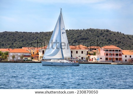 yacht sailing near the coast of Croatia - stock photo