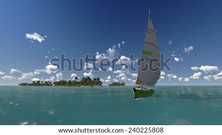 yacht, sea and tropical island, three dimensional illustration - stock photo