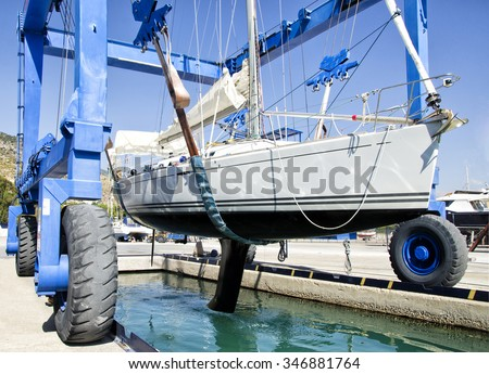 Yacht Service in the Yacht Marine - stock photo