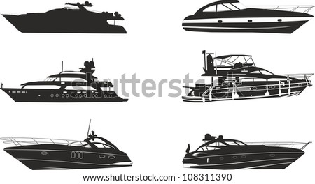 yacht silhouettes - stock photo