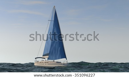 yacht with blue sales in the sea