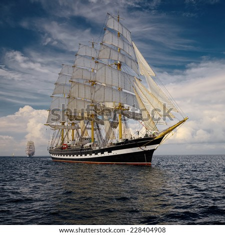 Yachting. A collection of ships and yachts - stock photo