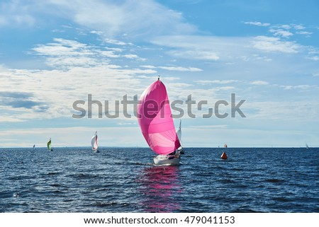 Yachting race. Sailing regatta. Yachts with pink spinnaker in the sea on sunny windy day