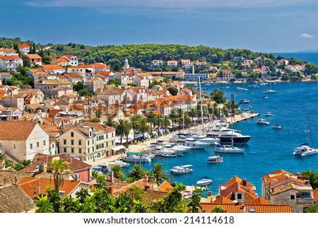 Yachting waterfront of Hvar island in Dalmatia, Croatia - stock photo