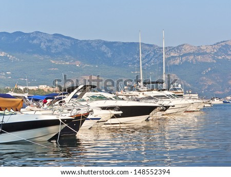 Yachts and boats at berth in Budva