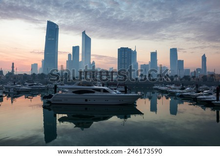 Yachts and boats at the Sharq Marina in Kuwait City - stock photo