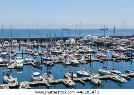 yachts and boats in coast marine in summer day
