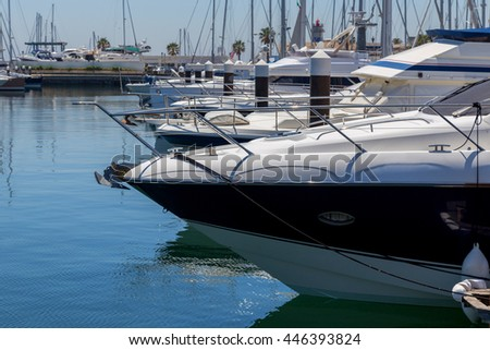 yachts and boats in coast marine in summer day - stock photo