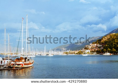 Yachts and boats in the harbor, Fethie, Turkey - stock photo