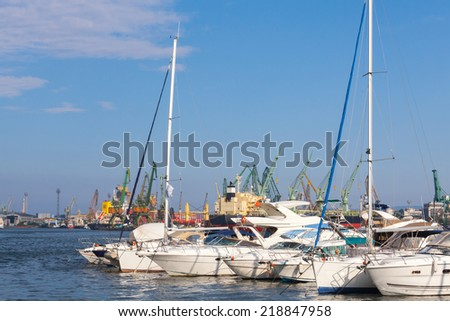 Yachts and pleasure boats are moored in port of Varna, Bulgaria - stock photo