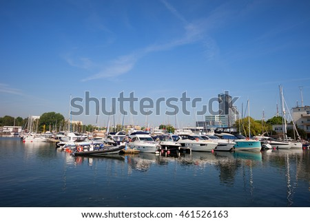 Yachts and sailboats in marina on Baltic Sea in city of Gdynia in Poland, Europe