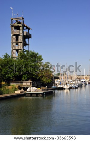 Yachts are berthed along inland waterways, Inner Harbor, Baltimore, MD - stock photo