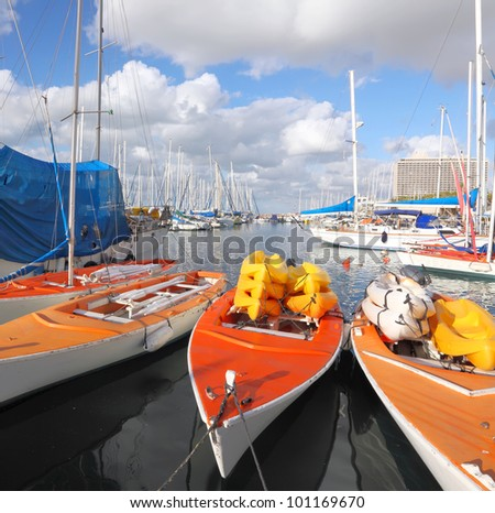 Yachts, boats and kayaks in marina of Tel-Aviv (Israel) - stock photo