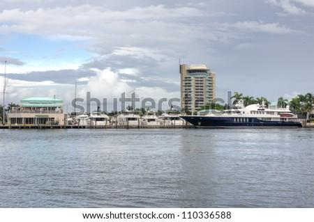 Yachts docked at Fort Lauderdale Harbor, Florida - stock photo