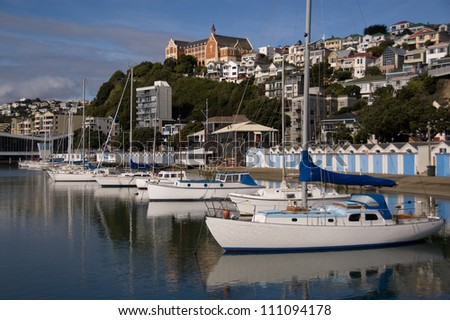Yachts in Harbour with Mt Victoria, Wellington, New Zealand in Background - stock photo
