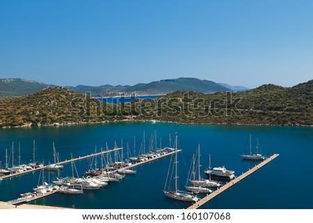 Yachts in Kas Turkey - travel background - stock photo