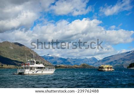 Yachts in Lake Wanaka, South Island, New Zealand - stock photo