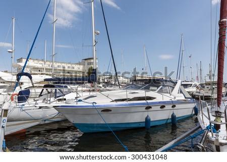 Yachts in marina of Gdynia, Poland - stock photo