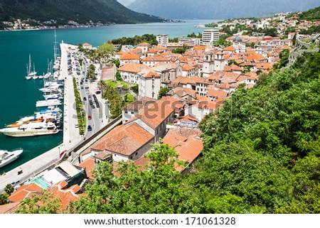 Yachts in the harbor, Kotor bay, Montenegro - stock photo