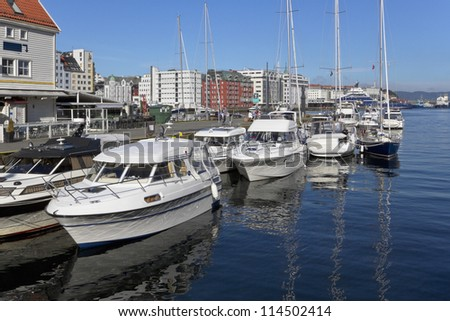 Yachts in the harbor of Bergen. Norway. - stock photo
