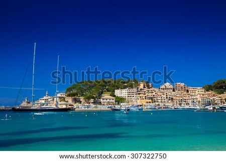 yachts in the harbour of Port de Soller, Mallorca, Spain - stock photo