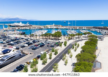 Yachts in the port of Antibes, French Riviera