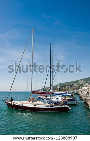 yachts in Yalta Port, Black Sea, Ukraine