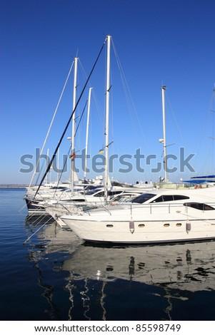 yachts mooring in marina - stock photo