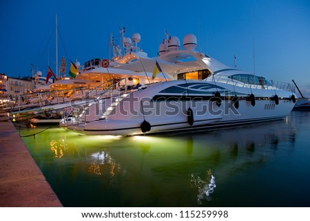 Yachts on a decline - stock photo