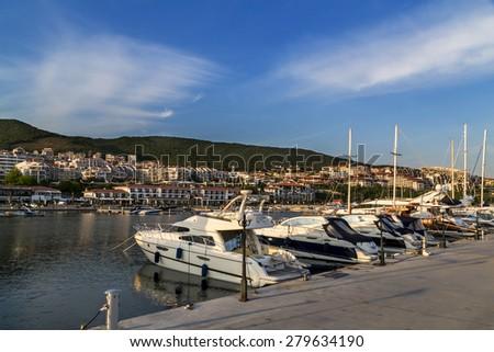 Yachts on the marina in Saint Vlas Bulgaria - stock photo
