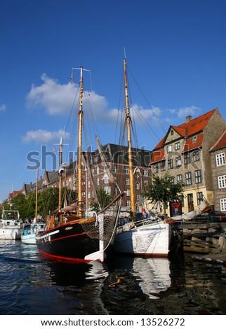 Yachts parked in Copenhagen haven - stock photo