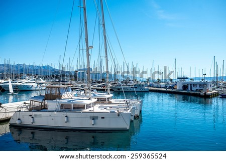 Yachts parking in the Adriatic harbour in Croatia - stock photo