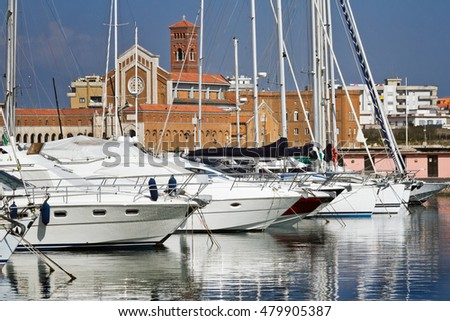 Yachts parking in the  harbour in Nettuno in the  Tyrrhenian Sea,  Italy