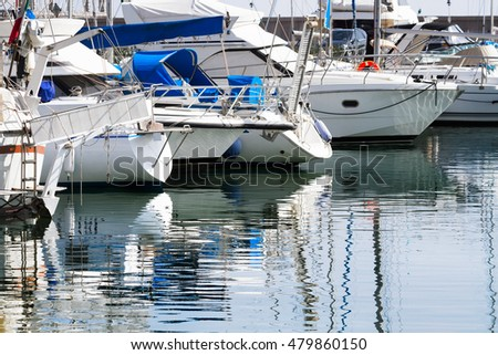 Yachts parking in the  harbour in the Tyrrhenian Sea in Italy