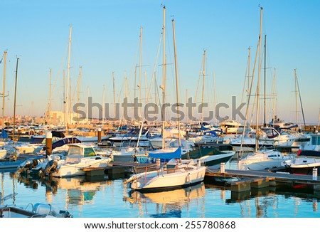 Yachts, sail boats and motorboats in marina of Cascais,  Portugal.  - stock photo