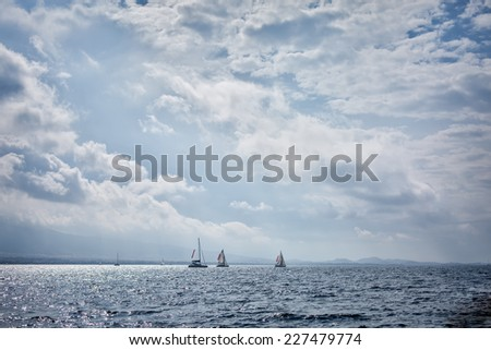 Yachts sailing in the Saronic Gulf, Greece - stock photo