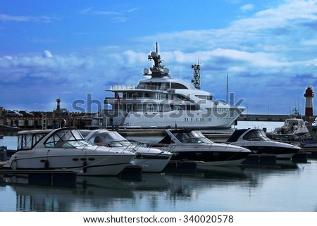 Yachts standing in port of  Russia