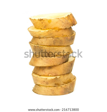 Yacon Slices On White Background - stock photo
