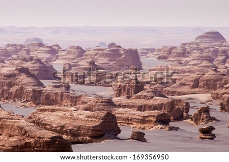 Yadan landforms in Dunhuang , China - stock photo