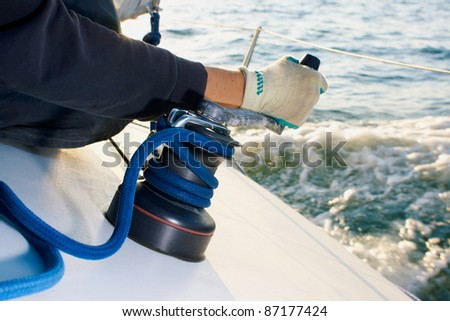 Yaghting adventure people on the sea - stock photo