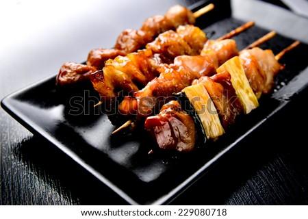 yakitori grilled chiken - stock photo