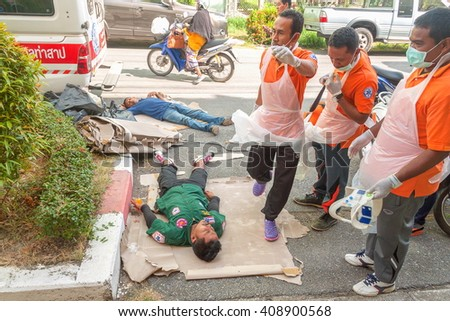 YALA, THAILAND - April 21 : The refresher training to assist in emergency rescue situations, Training devoted to the of first aid. traffic accident. in Yala  southern Thailand. on April 21, 2016 - stock photo