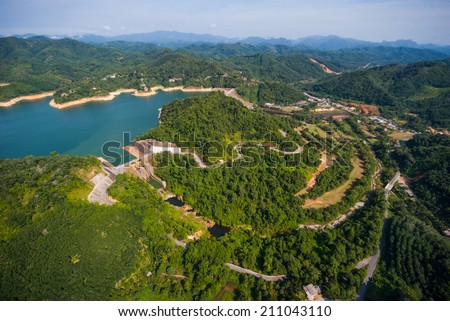 Yala, THAILAND - August 10, 2014. On helicopter take care and photo the Bang-Lang dam on August 10, 2014.Yala is the south of Thailand. - stock photo