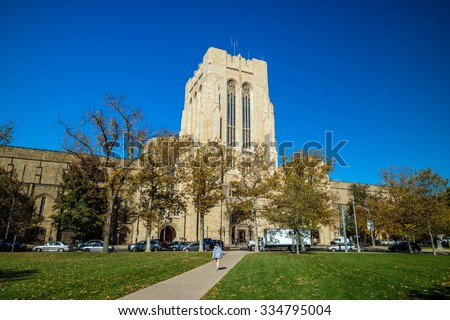 Yale university buildings in autumn with blue sky in New Haven, CT USA - stock photo