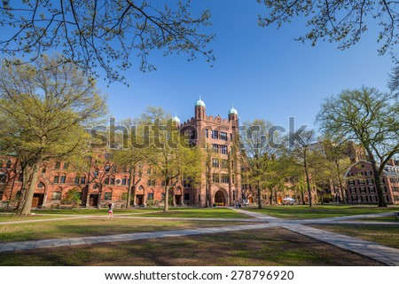 Yale university buildings in spring blue sky in New Haven, CT USA