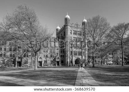 Yale university buildings in spring blue sky in New Haven, CT USA  - stock photo