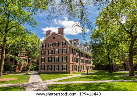 Yale university buildings in summer with blue sky in New Haven, CT USA - stock photo