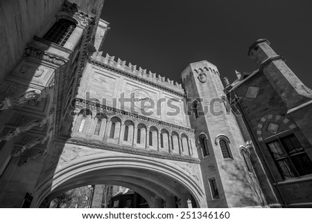 Yale university buildings in winter after snow storm Linus in New Haven, CT USA in black and white - stock photo
