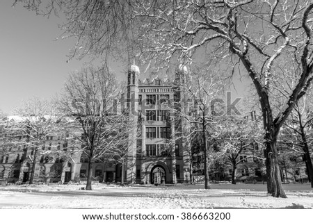 Yale university buildings in winter in New Haven, CT USA